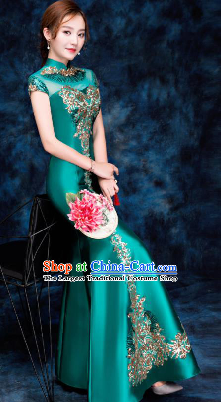 Chinese Traditional Embroidered Sequins Green Qipao Dress Compere Cheongsam Costume for Women