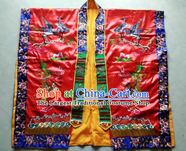 Chinese National Quanzhen Red Taoist Frock Embroidered Cranes Cassock Traditional Taoism Rites Costume for Men