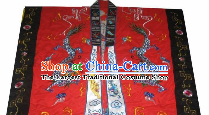 Chinese National Quanzhen Taoist Frock Embroidered Dragon Cassock Traditional Taoism Rites Costume for Men