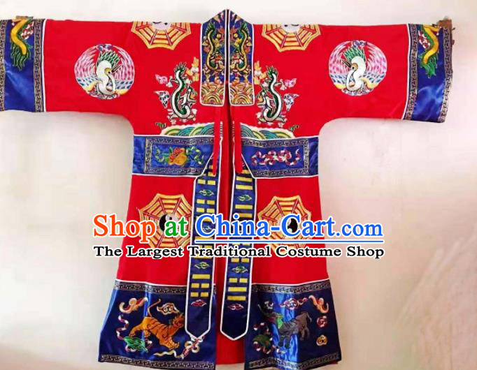 Chinese National Taoist Embroidered Red Priest Frock Cassock Traditional Taoism Rites Costume for Men