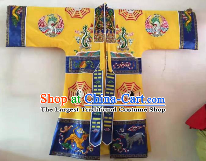Chinese National Taoist Embroidered Yellow Priest Frock Cassock Traditional Taoism Rites Costume for Men