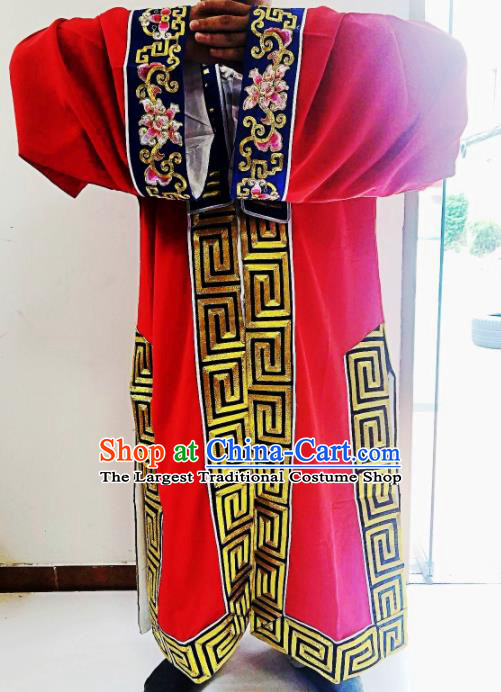 Chinese National Taoist Embroidered Eight Diagrams Red Priest Frock Cassock Traditional Taoism Rites Costume for Men