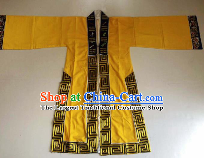 Chinese National Taoist Embroidered Eight Diagrams Yellow Priest Frock Cassock Traditional Taoism Rites Costume for Men