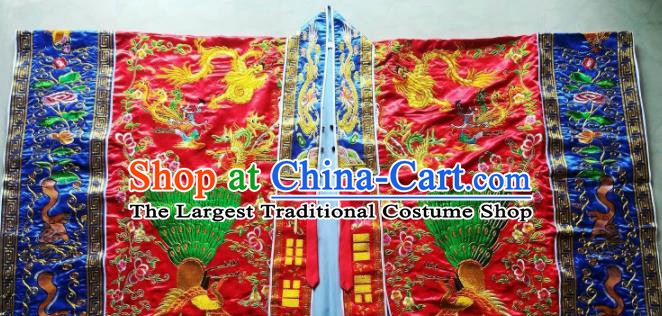 Chinese National Taoist Embroidered Peacock Red Priest Frock Cassock Traditional Taoism Rites Costume for Men