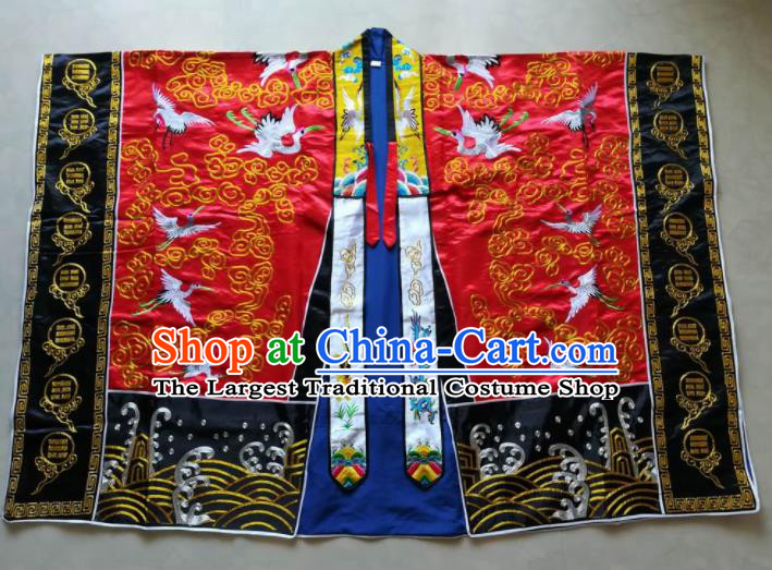 Chinese National Taoist Embroidered Cranes Red Priest Frock Cassock Traditional Taoism Rites Costume for Men