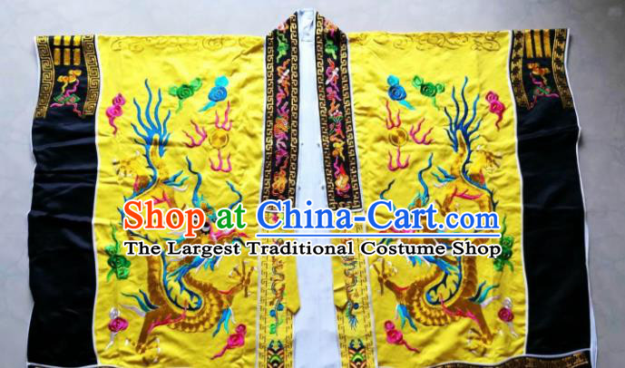 Chinese National Taoist Embroidered Dragon Yellow Frock Cassock Traditional Taoism Rites Costume for Men