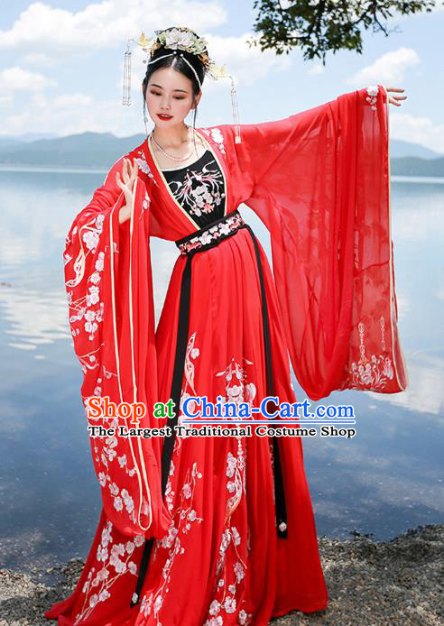 Chinese Tang Dynasty Princess Wedding Red Embroidered Dress Traditional Ancient Goddess Costumes for Women