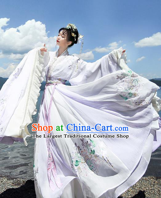 Chinese Jin Dynasty Imperial Consort Lilac Embroidered Dress Traditional Ancient Fairy Goddess Costumes for Women