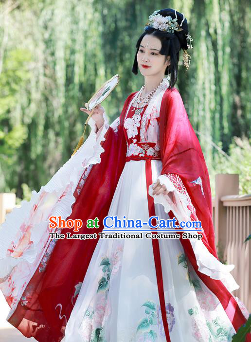 Traditional Chinese Jin Dynasty Palace Queen Hanfu Dress Ancient Goddess Empress Costumes for Women