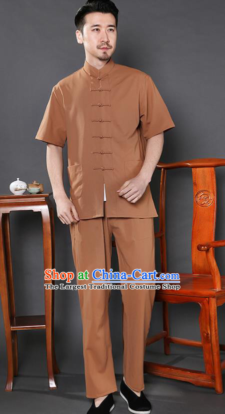 Chinese National Ginger Shirt and Pants Traditional Tang Suit Martial Arts Costumes Complete Set for Men