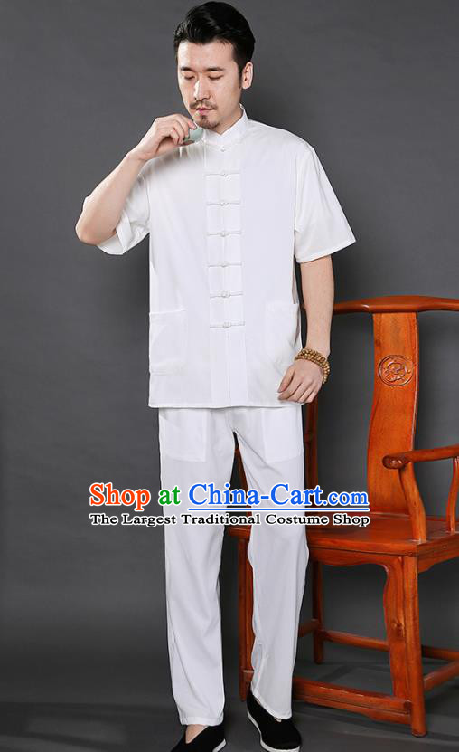 Chinese National White Shirt and Pants Traditional Tang Suit Martial Arts Costumes Complete Set for Men