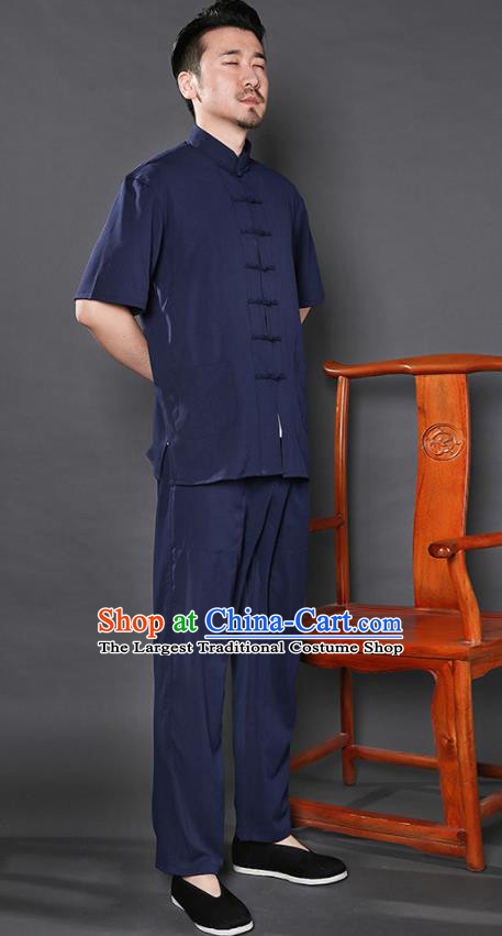 Chinese National Navy Shirt and Pants Traditional Tang Suit Martial Arts Costumes Complete Set for Men