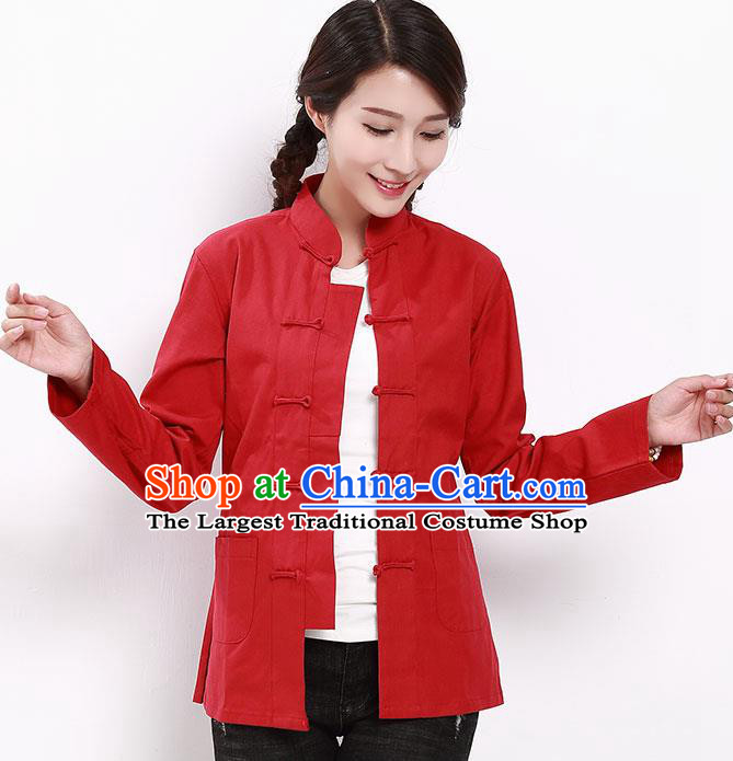 Chinese National Tang Suit Red Blouse Traditional Martial Arts Shirt Costumes for Women