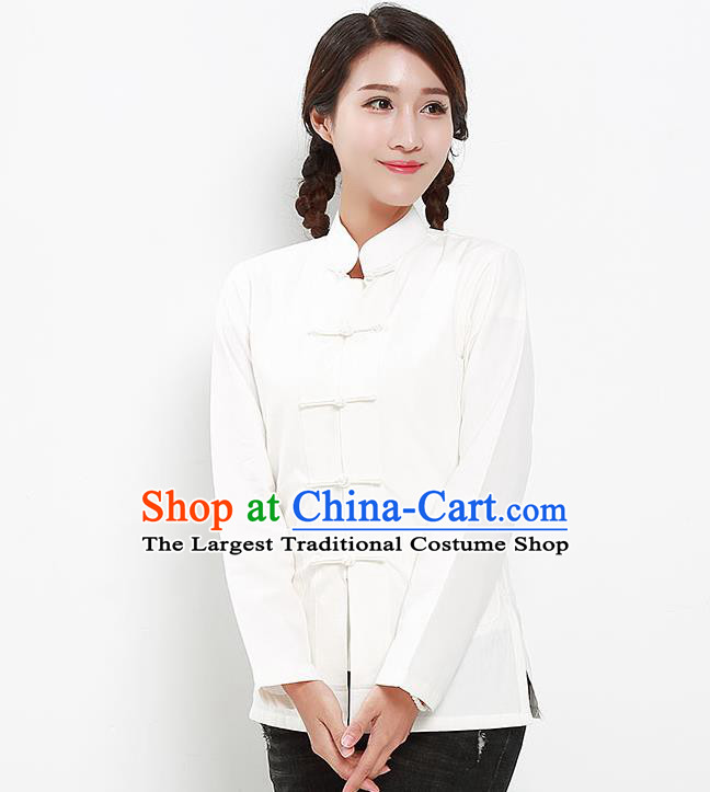 Chinese National Tang Suit White Blouse Traditional Martial Arts Shirt Costumes for Women