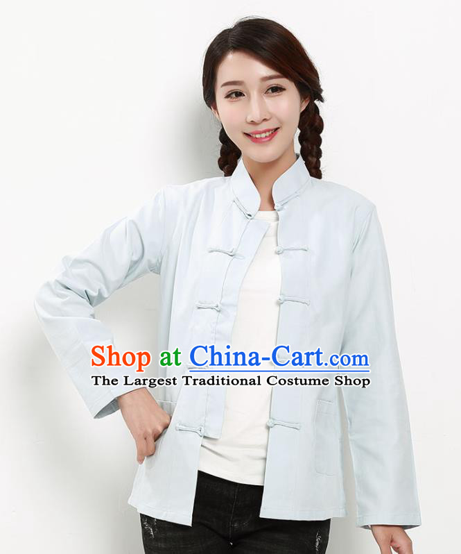 Chinese National Tang Suit Light Blue Blouse Traditional Martial Arts Shirt Costumes for Women