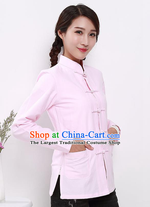 Chinese National Tang Suit Light Pink Blouse Traditional Martial Arts Shirt Costumes for Women