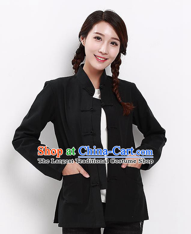 Chinese National Tang Suit Black Blouse Traditional Martial Arts Shirt Costumes for Women