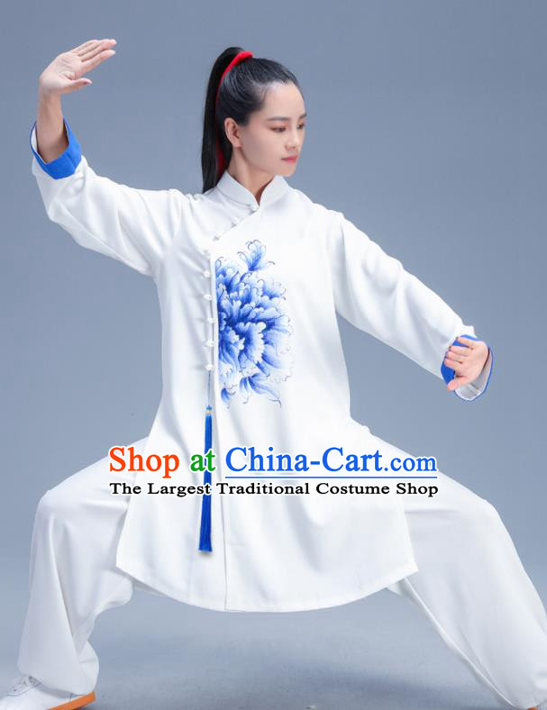 Chinese Traditional Kung Fu Competition Printing Peony White Garment Outfits Martial Arts Stage Show Costumes for Women