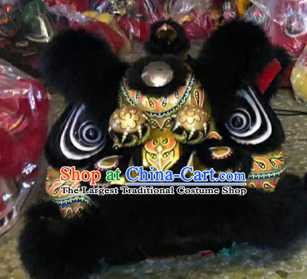 Top Chinese World Lion Dance Competition Black Fur Lion Head Lion Dance Costumes for Adult
