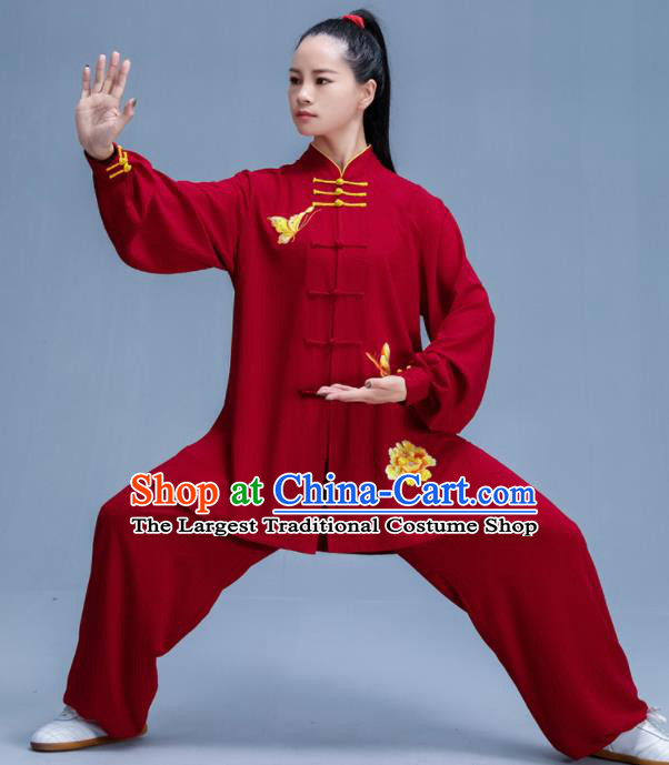 Chinese Traditional Kung Fu Printing Peony Wine Red Garment Outfits Martial Arts Stage Show Costumes for Women