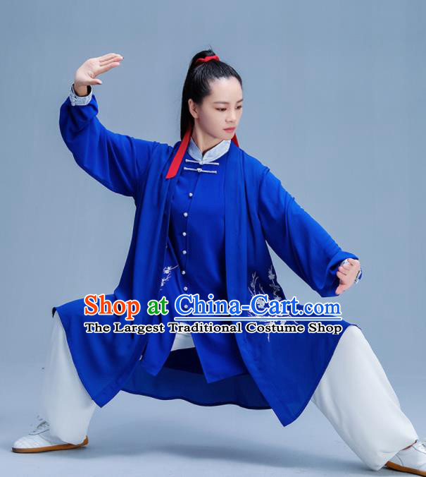 Chinese Traditional Kung Fu Printing Plum Royalblue Garment Outfits Martial Arts Stage Show Costumes for Women