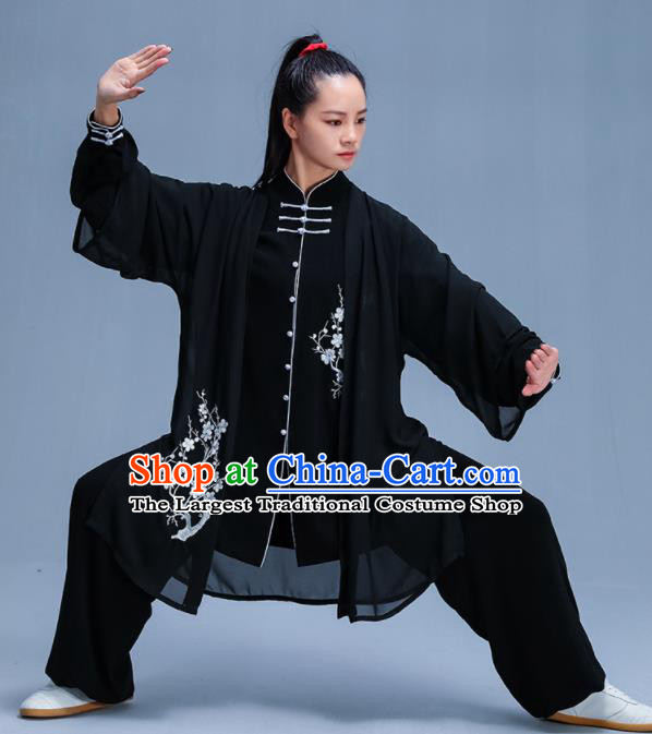 Chinese Traditional Kung Fu Embroidered Plum Blossom Black Garment Outfits Martial Arts Stage Show Costumes for Women