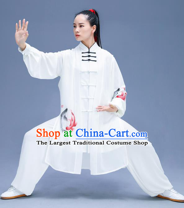 Chinese Traditional Kung Fu Training Printing Carps White Garment Outfits Martial Arts Stage Show Costumes for Women