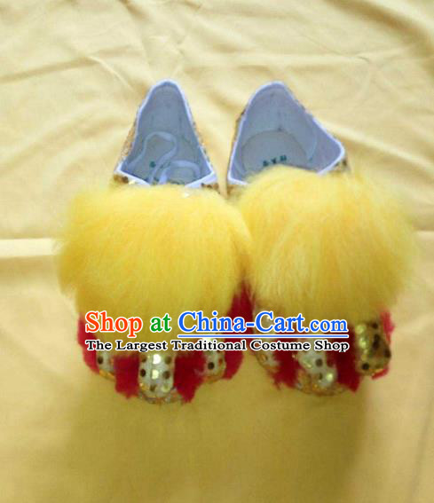 Chinese Traditional Lion Dance Red Shoes Handmade Folk Dance Shoes for Men