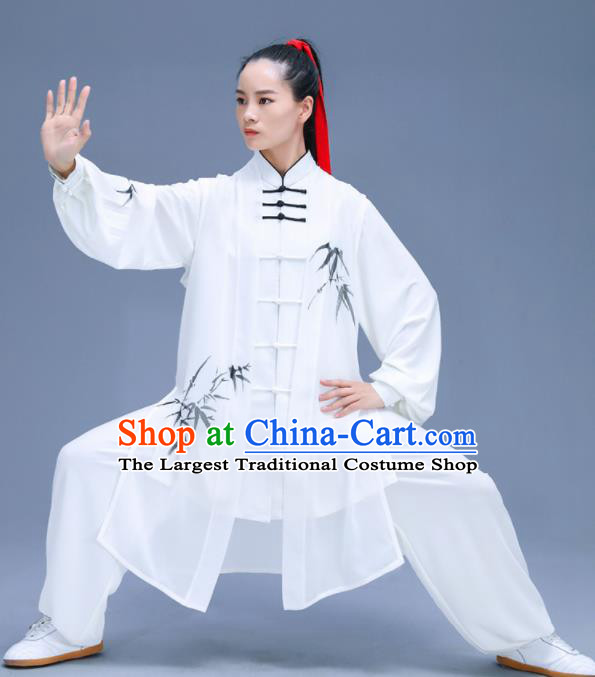 Chinese Traditional Kung Fu Training Ink Painting Bamboo White Garment Outfits Martial Arts Stage Show Costumes for Women
