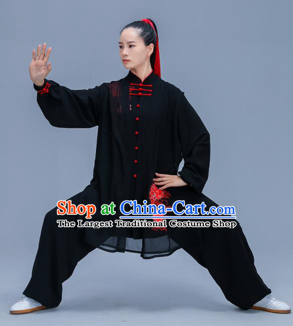 Chinese Traditional Kung Fu Training Embroidered Peony Black Garment Outfits Martial Arts Stage Show Costumes for Women