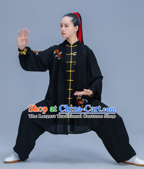 Chinese Traditional Kung Fu Training Embroidered Cloud Black Garment Outfits Martial Arts Stage Show Costumes for Women