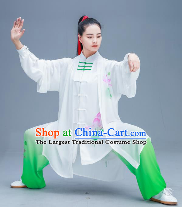 Chinese Traditional Kung Fu Tai Chi Printing Lotus Garment Outfits Martial Arts Training Costumes for Women