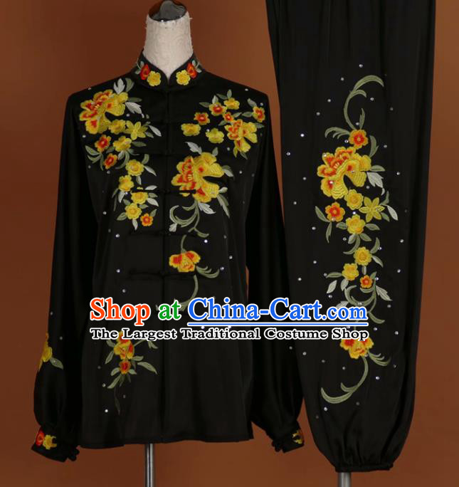 Chinese Tai Chi Embroidered Peony Black Garment Outfits Traditional Kung Fu Martial Arts Training Costumes for Women