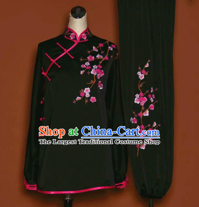 Chinese Tai Chi Embroidered Plum Black Garment Outfits Traditional Kung Fu Martial Arts Training Costumes for Women