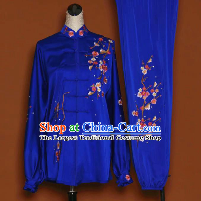 Chinese Tai Chi Embroidered Plum Royalblue Garment Outfits Traditional Kung Fu Martial Arts Training Costumes for Women