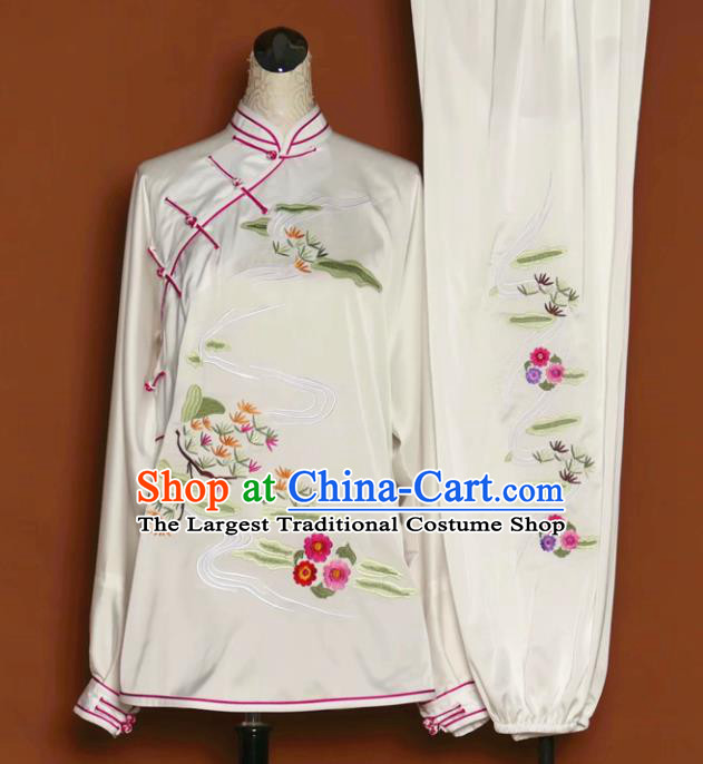 Chinese Tai Chi Embroidered White Silk Garment Outfits Traditional Kung Fu Martial Arts Training Costumes for Women