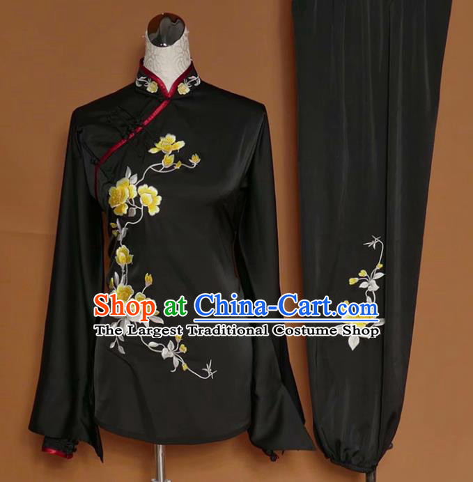 Chinese Tai Chi Embroidered Peony Black Silk Garment Outfits Traditional Kung Fu Martial Arts Training Costumes for Women