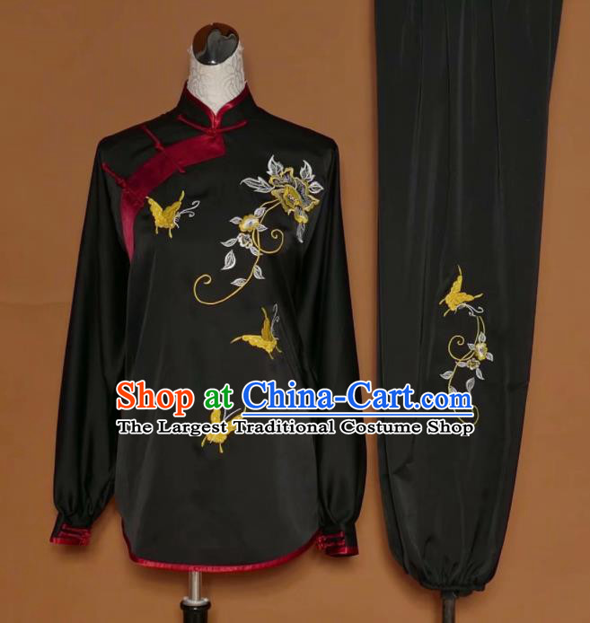 Chinese Tai Chi Embroidered Peony Butterfly Black Silk Garment Outfits Traditional Kung Fu Martial Arts Training Costumes for Women