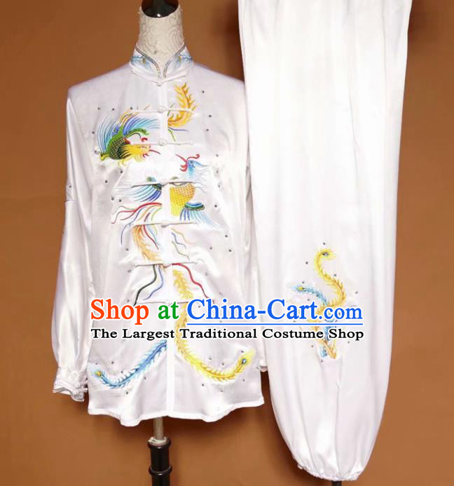 Chinese Tai Chi Embroidered Phoenix White Silk Garment Outfits Traditional Kung Fu Martial Arts Training Costumes for Women