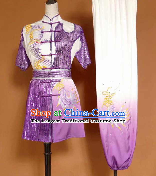 Chinese Tai Chi Changquan Purple Garment Outfits Traditional Kung Fu Martial Arts Training Costumes for Adult