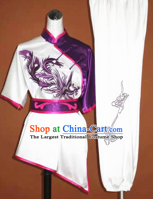 Chinese Tai Chi Embroidered Purple Phoenix Garment Outfits Traditional Kung Fu Martial Arts Training Costumes for Women