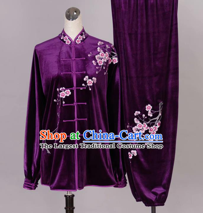 Chinese Tai Chi Embroidered Plum Purple Velvet Garment Outfits Traditional Kung Fu Martial Arts Training Costumes for Adult