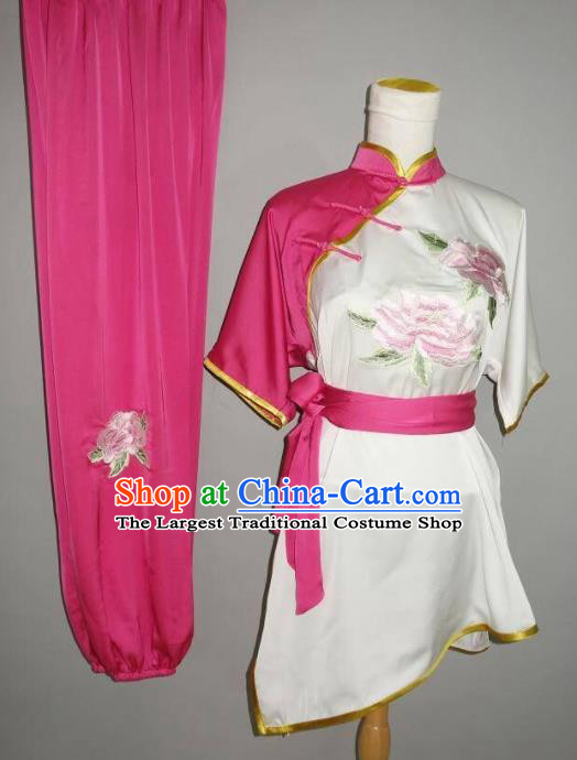 Chinese Tai Chi Embroidered Peony Garment Outfits Traditional Kung Fu Martial Arts Training Costumes for Women