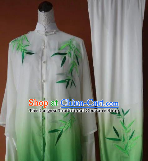 Chinese Tai Chi Changquan Embroidered Bamboo Green Garment Outfits Traditional Kung Fu Martial Arts Costumes for Adult