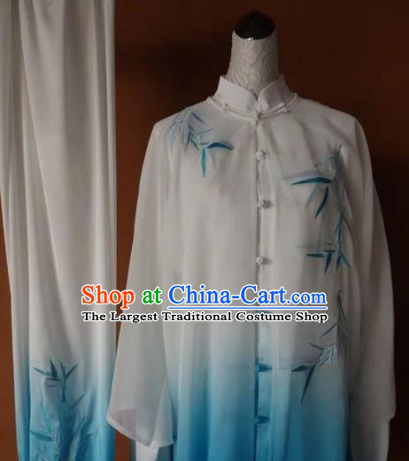 Chinese Tai Chi Changquan Embroidered Bamboo Blue Garment Outfits Traditional Kung Fu Martial Arts Costumes for Adult