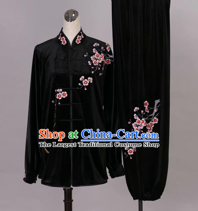 Chinese Tai Chi Embroidered Plum Black Velvet Garment Outfits Traditional Kung Fu Martial Arts Training Costumes for Adult