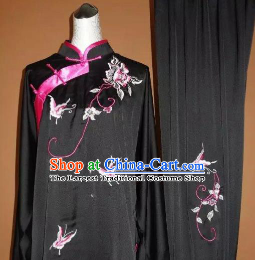 Chinese Tai Chi Embroidered Butterfly Peony Black Garment Outfits Traditional Kung Fu Martial Arts Training Costumes for Women
