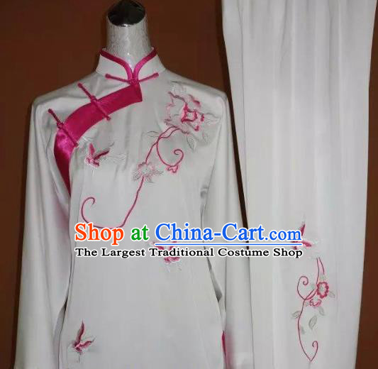 Chinese Tai Chi Embroidered Pink Butterfly Peony Garment Outfits Traditional Kung Fu Martial Arts Training Costumes for Women