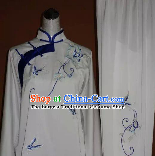 Chinese Tai Chi Embroidered Blue Butterfly Peony Garment Outfits Traditional Kung Fu Martial Arts Training Costumes for Women
