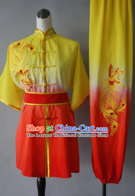 Chinese Tai Chi Embroidered Phoenix Garment Outfits Traditional Kung Fu Martial Arts Training Costumes for Women